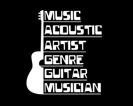 accoustic guitar with text illustration Illustration