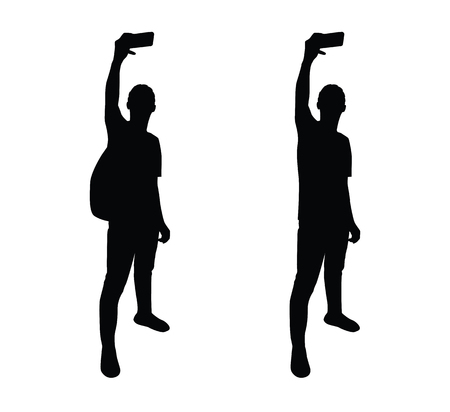 Man selfie silhouette design Çizim