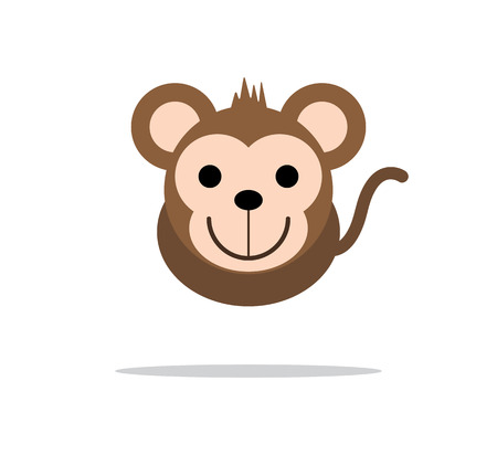 Cute monkey head illustration design Illustration