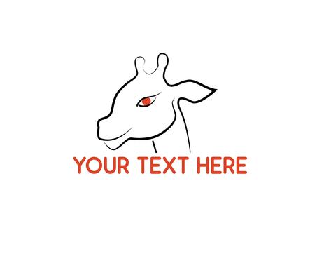giraffe head line design Illustration
