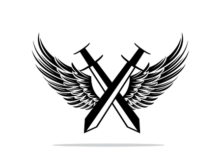 double swords with wings badge design Illustration