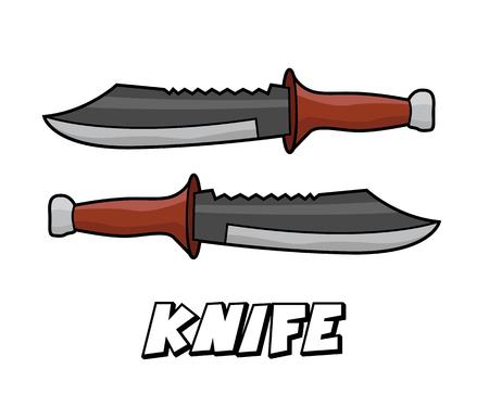 Melee weapon knife model cartoon design illustration Illustration