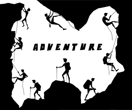 adventure activity silhouette cartoon design