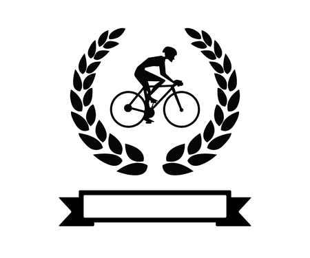 cycling with wheat retro badge logo