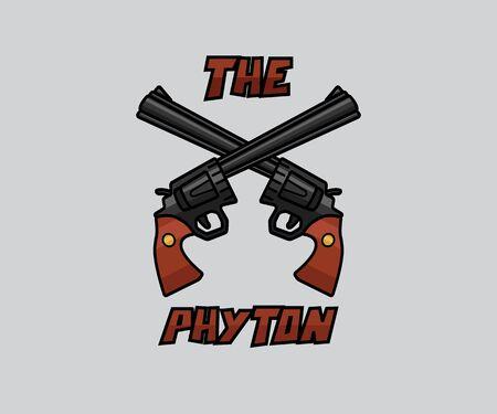Dual pistol weapon cartoon design illustration