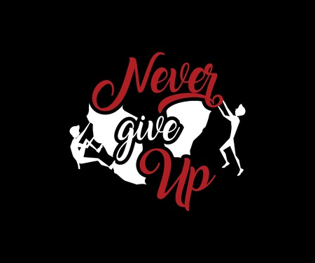 Never give up motivation quote retro badge design illustration Vectores