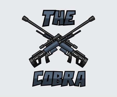 Dual sniper weapon cartoon design illustration - the cobra