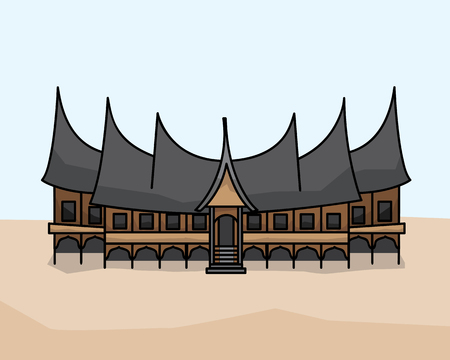 Gadang traditional house illustration design. Cartoon style design.designed for animation