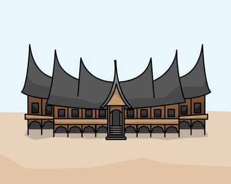 Gadang traditional house illustration design. Cartoon style design.designed for animation