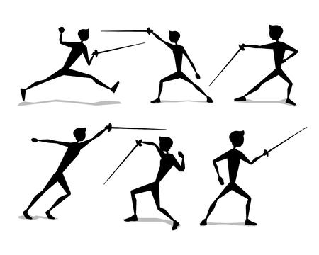 Fencing silhouette movement illustration design.silhouette style design.