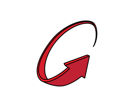 Rounded arrow illustration, cartoon design style arrow.