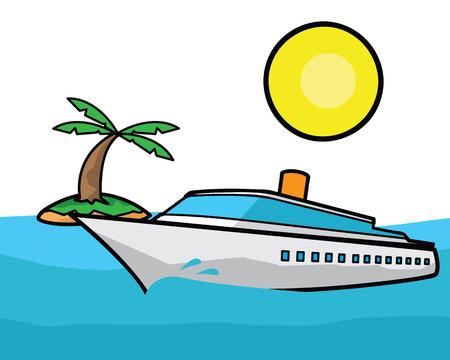 Luxury ship cartoon illustration, cartoon design style. Stock Illustratie
