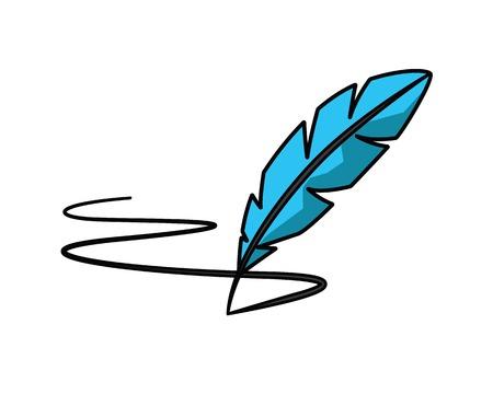 Feather pen cartoon illustration, cartoon design style.