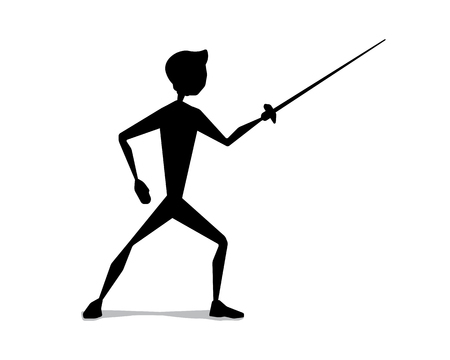 Fencing silhouette movement illustration design. Silhouette style design.