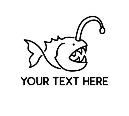 Fish line logo illustration design. Simple line style design. 向量圖像