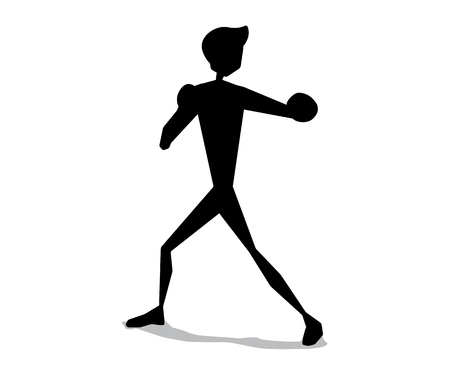 Boxing silhouette cartoon movement illustration design. Silhouette cartoon style design.