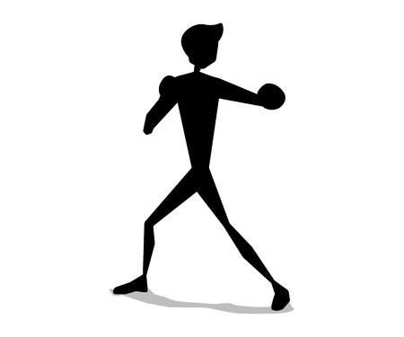 Boxing silhouette cartoon movement illustration design. Silhouette cartoon style design.
