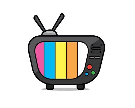 Old television cartoon illustration. Cartoon design style, designed for illustration. Çizim