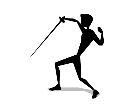 Fencing silhouette movement illustration design. Silhouette style design for web and print.