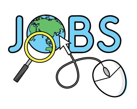 Job search cartoon illustration design. Cartoon style design for web and print.