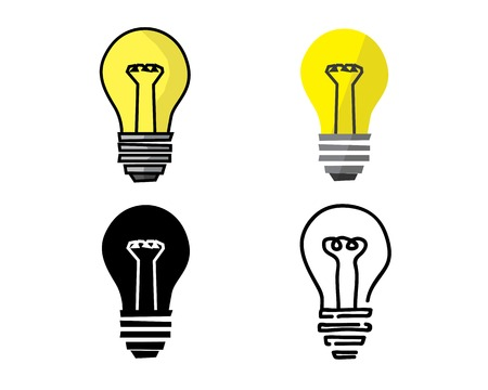 Light bulb icon in different style illustration. Cartoon flat silhouette and hand drawn design style, designed for illustration. Vettoriali