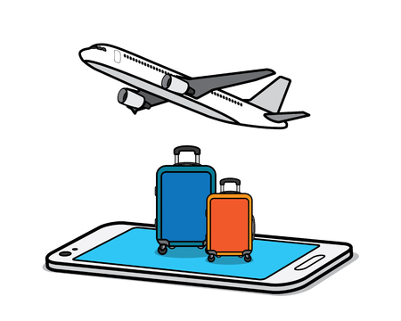 traveling with smart phone cartoon design illustration.cartoon design style, designed for illustration