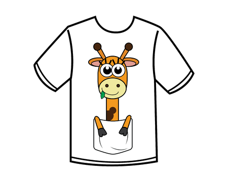 funny giraffe cartoon design illustration.cartoon design style, designed for apparel Ilustração