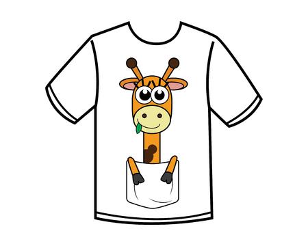 funny giraffe cartoon design illustration.cartoon design style, designed for apparel Vettoriali