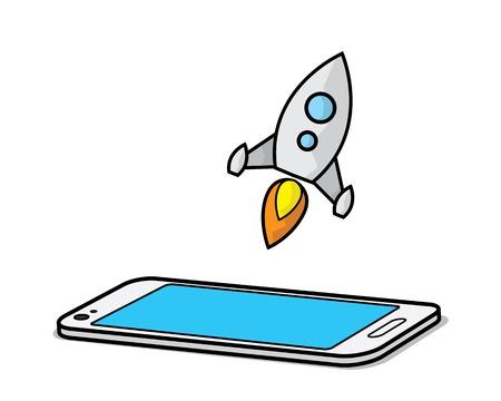 rocket with smart phone cartoon design illustration.cartoon design style, designed for illustration
