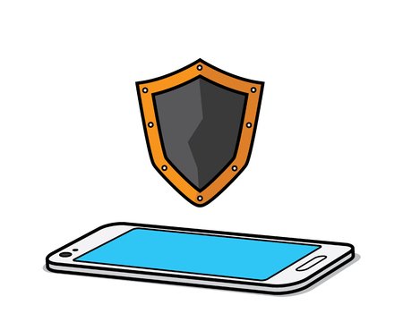 shield with smart phone cartoon design illustration.cartoon design style, designed for illustration