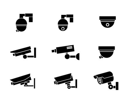 Security camera icon design illustration, silhouette design style, designed for print and web. Illustration