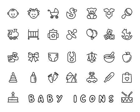 Baby hand drawn icon set