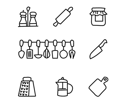 cooking hand drawn icon set design illustration, hand drawn style design, designed web and app