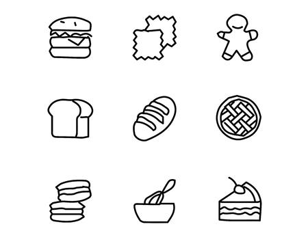 bread icon set design