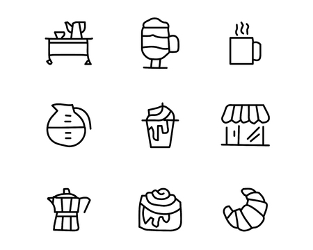 coffee and bread icon set design