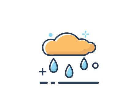 rain cloud icon design illustration,line filled style design, designed for web and app
