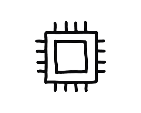 chip icon design illustration,hand drawn style design, designed for web and app