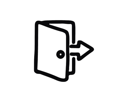 exit icon design illustration,hand drawn style design, designed for web and app 向量圖像
