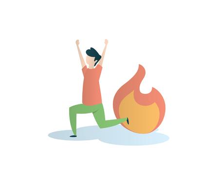 panic when wildfire eye catching illustration design