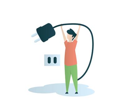 éteindre l'électricité conception d'illustration accrocheuse
