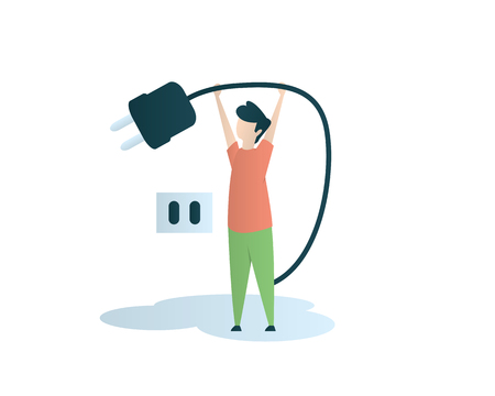 turn off the electricity eye catching illustration design 일러스트