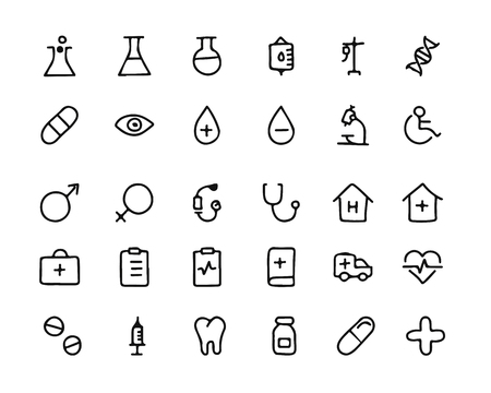 medical hand drawn icon set , designed for web and app
