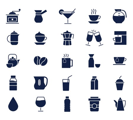 drink icons set glyph icon , designed for web and app Vektorové ilustrace