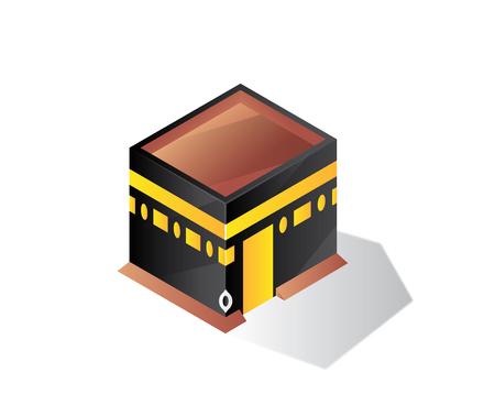 qaba makkah isometric illustration building