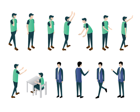man isometric illustration vector set, walk call mobile sit stand bend look work illustration vector isometric