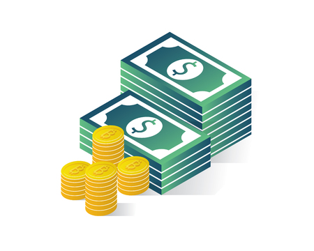 money isometric icons concept,money isometric illustration vector, money illustration vector Ilustração