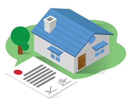 real estate isometric icons concept,real estate illustration vector, home certificate isometric vector illustration Stock Vector - 109793202