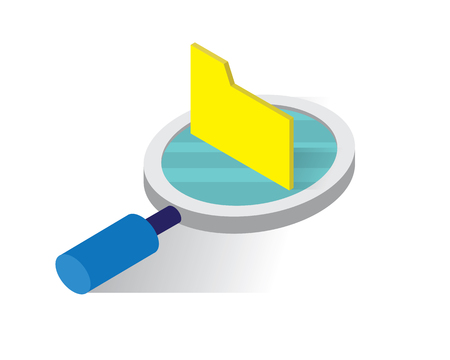 searching in folder isometric icons concept,folder illustration vector, looking for file isometric vector illustration Vecteurs