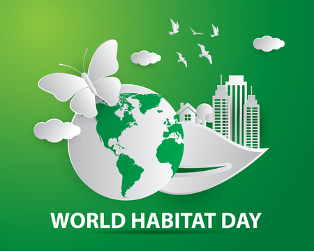world habitat day illustration world habitat day illustration vector world habitat day paper art illustration vector Banque d'images - 110174209