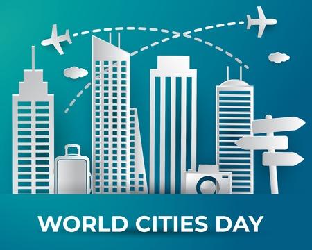 world cities day illustration vector,world cities day paper art illustration vector,cities day illustration vector